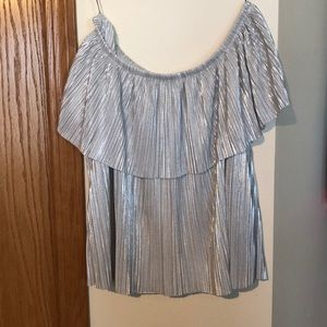 Off the shoulder, sparkly white/grey top